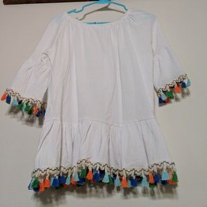 NWT Chicwosh Off Shoulder Boho Top with Tassels